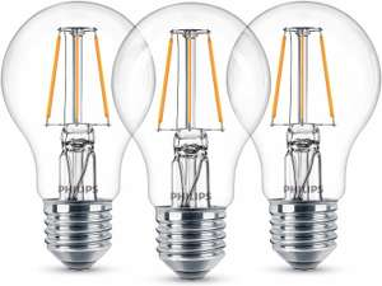[Plus Produkt] Philips LED-Lampe Glühlampenform 3er-Pack E27/ 4,3 W (470 lm) Warmweiß EEK: A++ (Amazon)