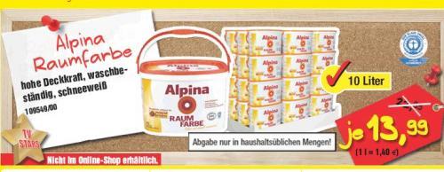 10 Liter Alpina Innenfarbe für 13,99 @ Poco