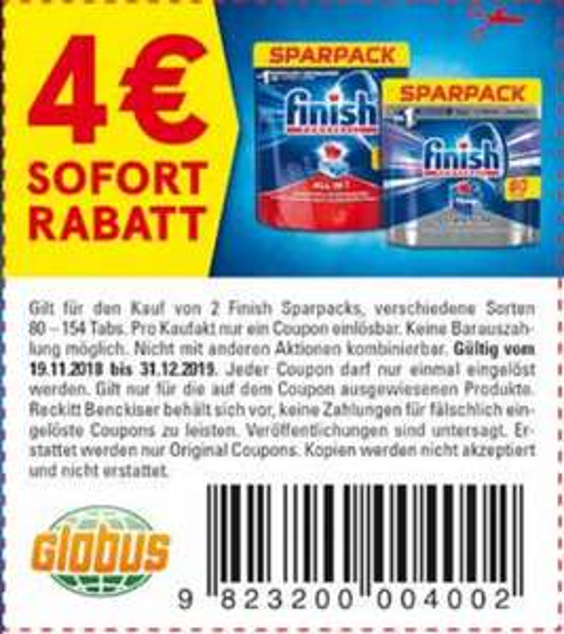 4,00€ Sofort-Rabatt Coupon für den Kauf von 2x Finish Geschirrspülmaschinentabs Sparpacks bis 31.12.2019