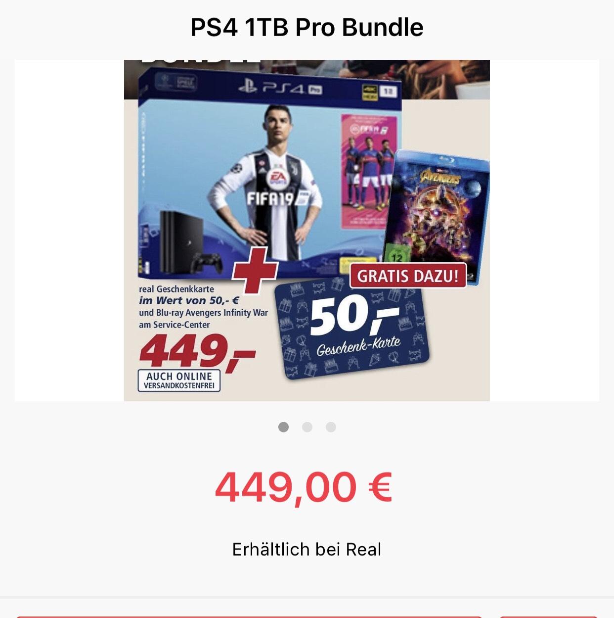 PS4 Pro 1TB inkl FIFA 19 und Avenger Blu-Ray