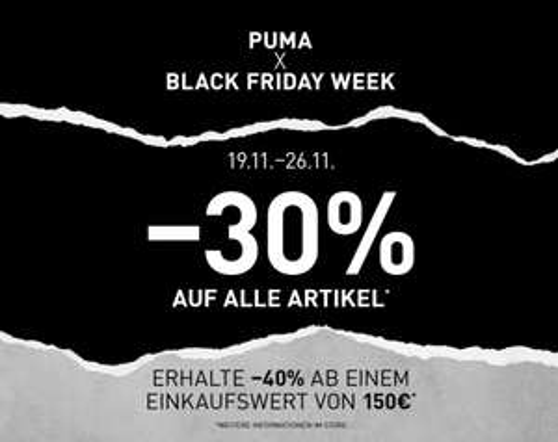 [Lokal] Puma Black Week -30% auf den gesamten Einkauf