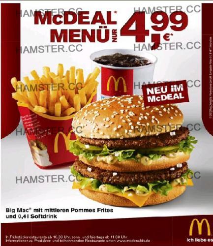 Big Mac + mittlere Pommes + 0,4l Softdrink für 4,99€ bei McDonalds