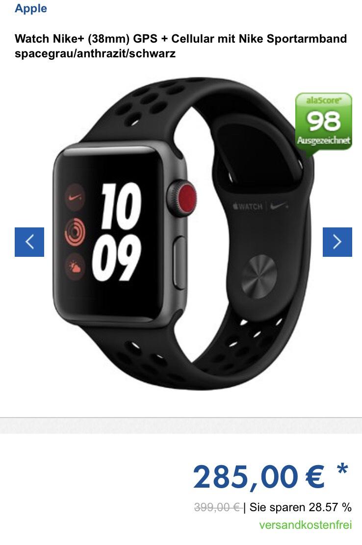 Apple Watch Series 3 Nike+ GPS + Cellular 38mm spacegrau und weitere Farben...
