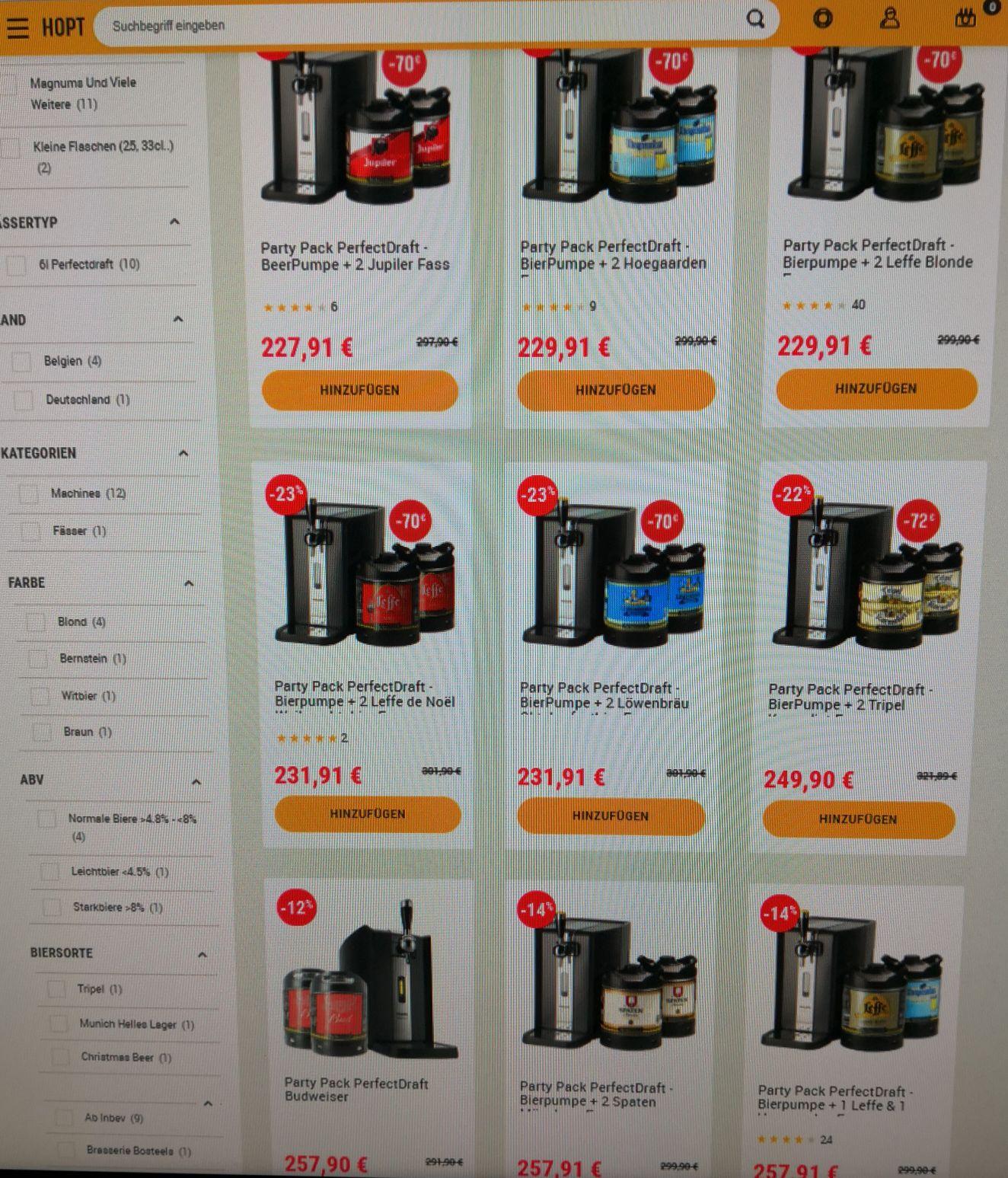 Philips Perfect Draft Maschine (neues Modell HD3720/25) + 2 Fässer (z. B. 2x Leffe Blond) für 241,81€ zzgl. Pfand beim Hopt-Shop