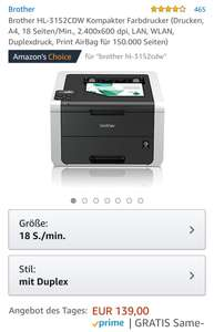 Brother HL-3152CDW Laserdrucker bei Amazon