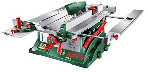 [Amazon Tagesdeal] Bosch Tischkreissäge PTS 10 (Spaltkeil, Tischverlängerung, Winkelanschlag, Absaugschlauch, Karton, 1400 Watt)
