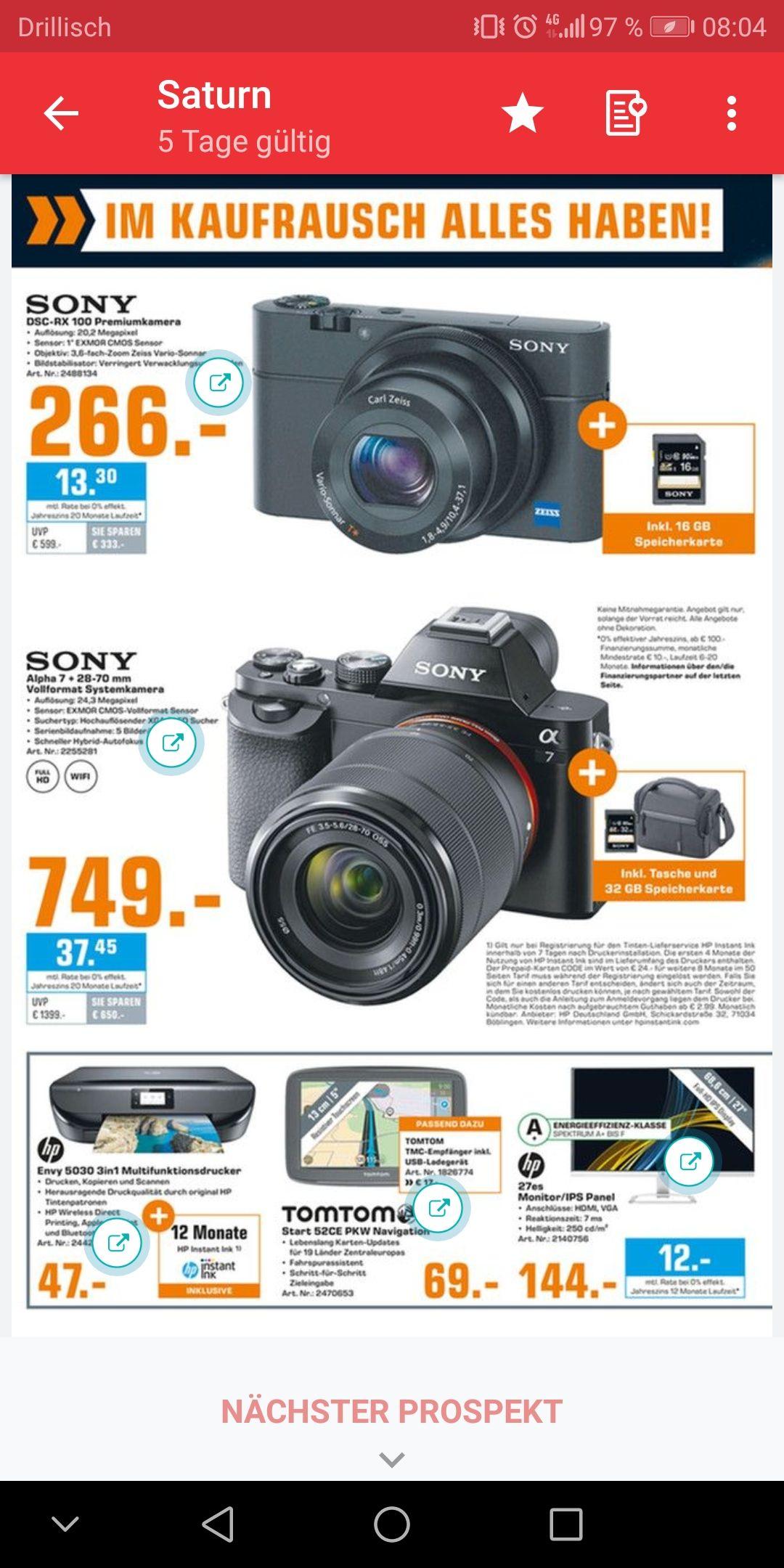 [Lokal] [Saturn Lübeck] Sony Alpha 7 Kit + Tasche & 32GB SD Karte