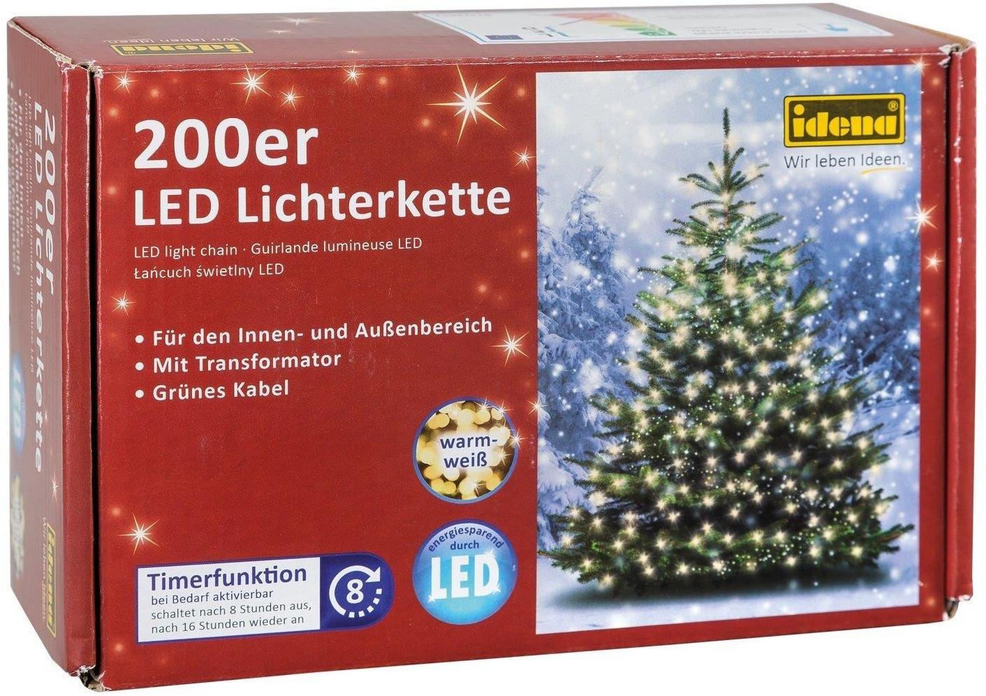 Idena LED Lichterkette 200er, ca. 27,90 m, für innen/außen, warm weiß m. Timer für 12€ mit Prime