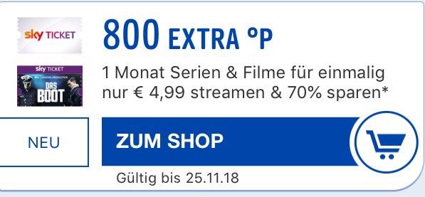 [BlackFriday] 1 Monat Sky Ticket für 4,99€ + 800 Payback Punkte = 3,01€ Gewinn (Neukunden)