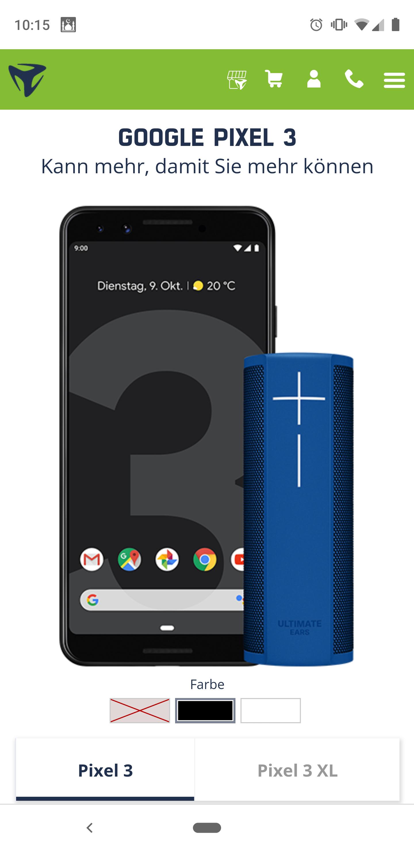 Google Pixel 3 128gb in schwarz oder weiß mit UE Blast!
