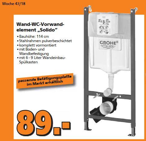 [Globus Baumarkt] Grohe Wand WC-Element Solido Unterputzspülkasten