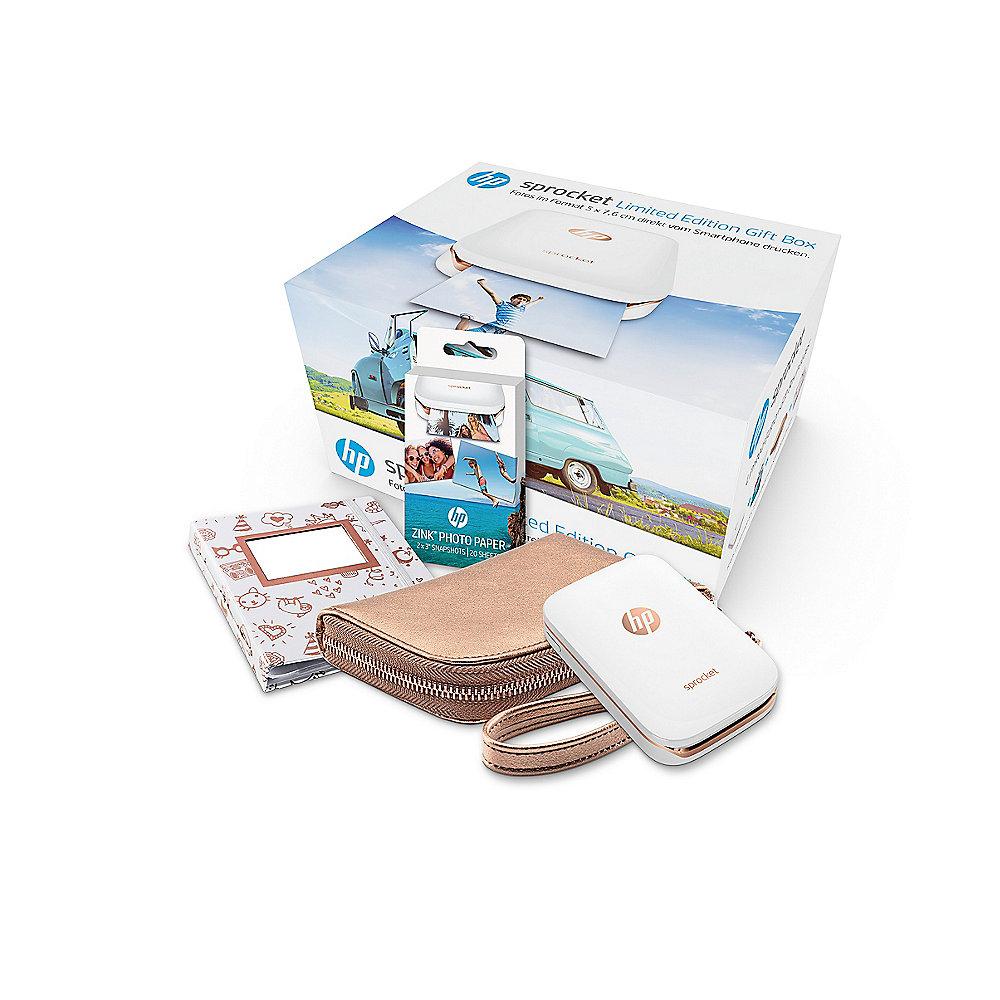 HP Sprocket Geschenke-Box (Set aus HP Sprocket Foto-Drucker weiß, HP ZINK Photo Papier 10 Seiten, Fotoalbum, Sprocket-Tasche in rosegold)