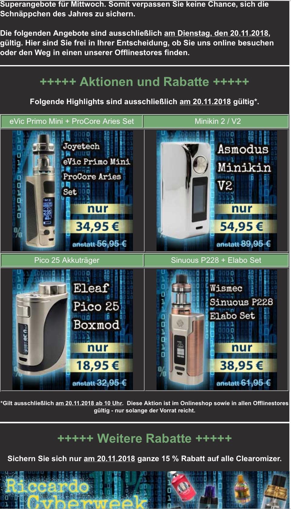 Cyber Week - Dienstag: Asmodus Minikin V2 180W Akkuträger + 15% auf alle Clearomizer
