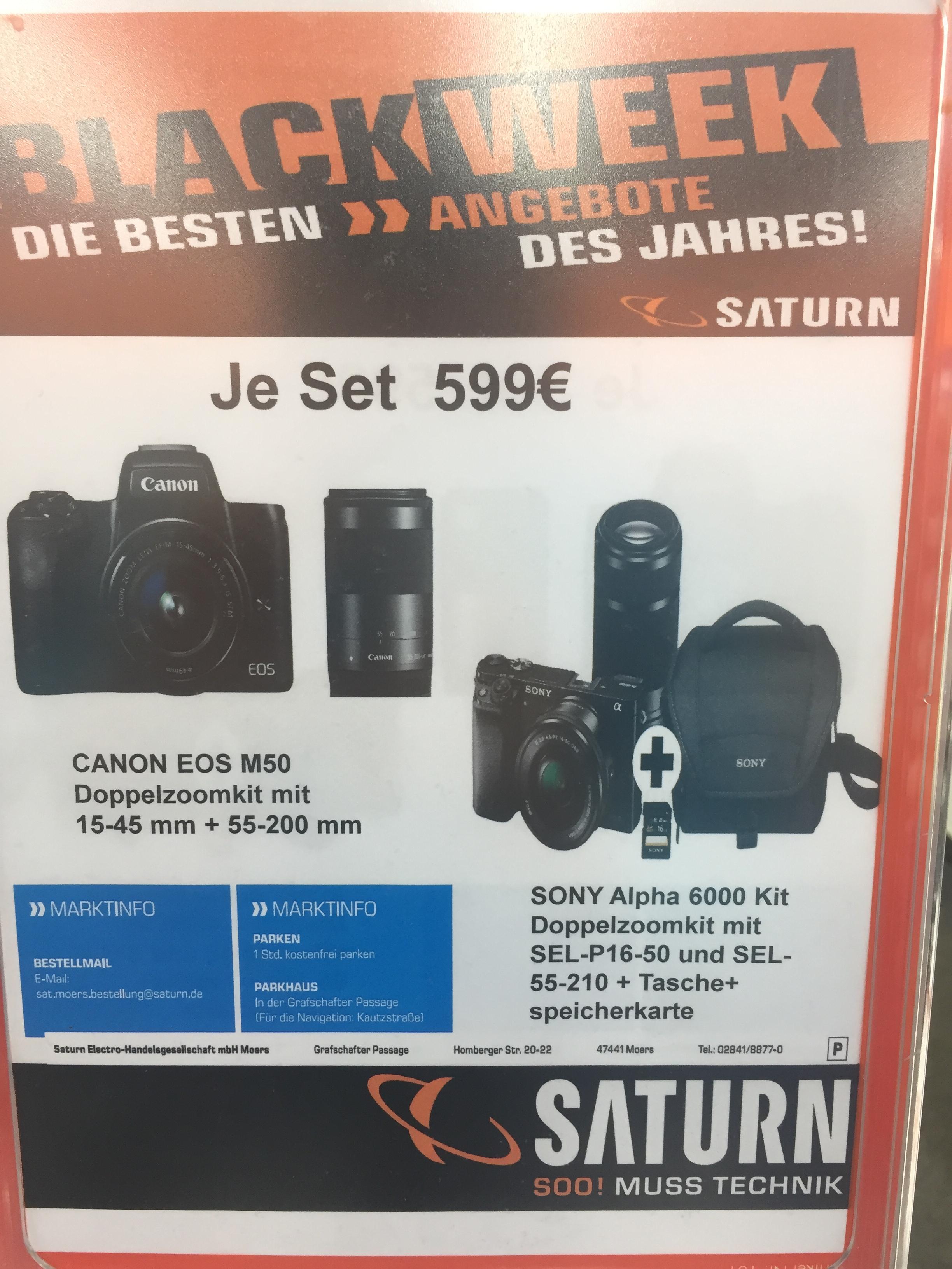 Canon EOS M50 Kit 15-45 mm + 55-200 mm oder SONY Alpha 6000 Kit Doppelzoomkit mit SEL-P16-50 und SEL-55-210 Reservierung möglich