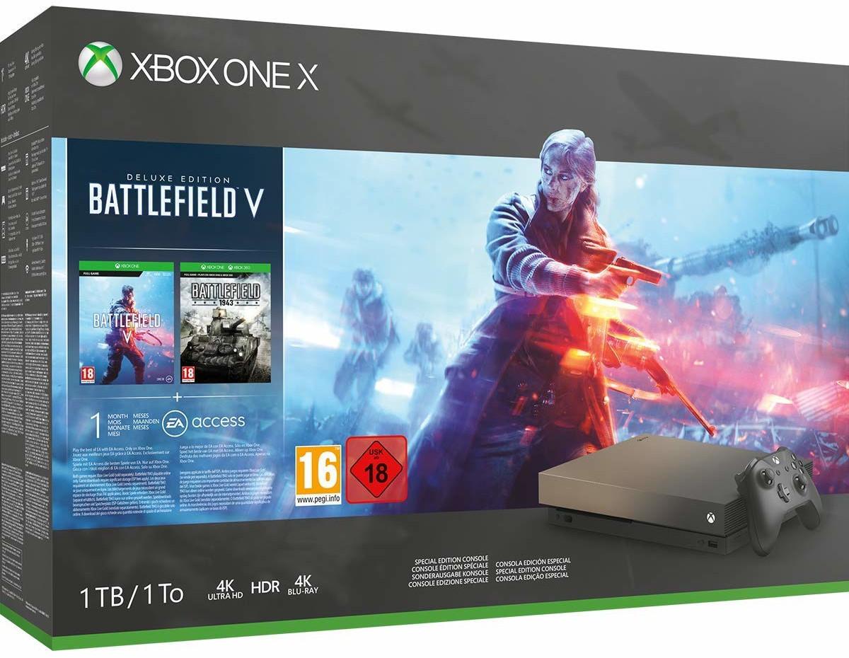 Microsoft Xbox One X 1TB Battlefield V: Deluxe Edition Gold Rush Special Für 392,40€ + Versand nach D [Amazon.es]