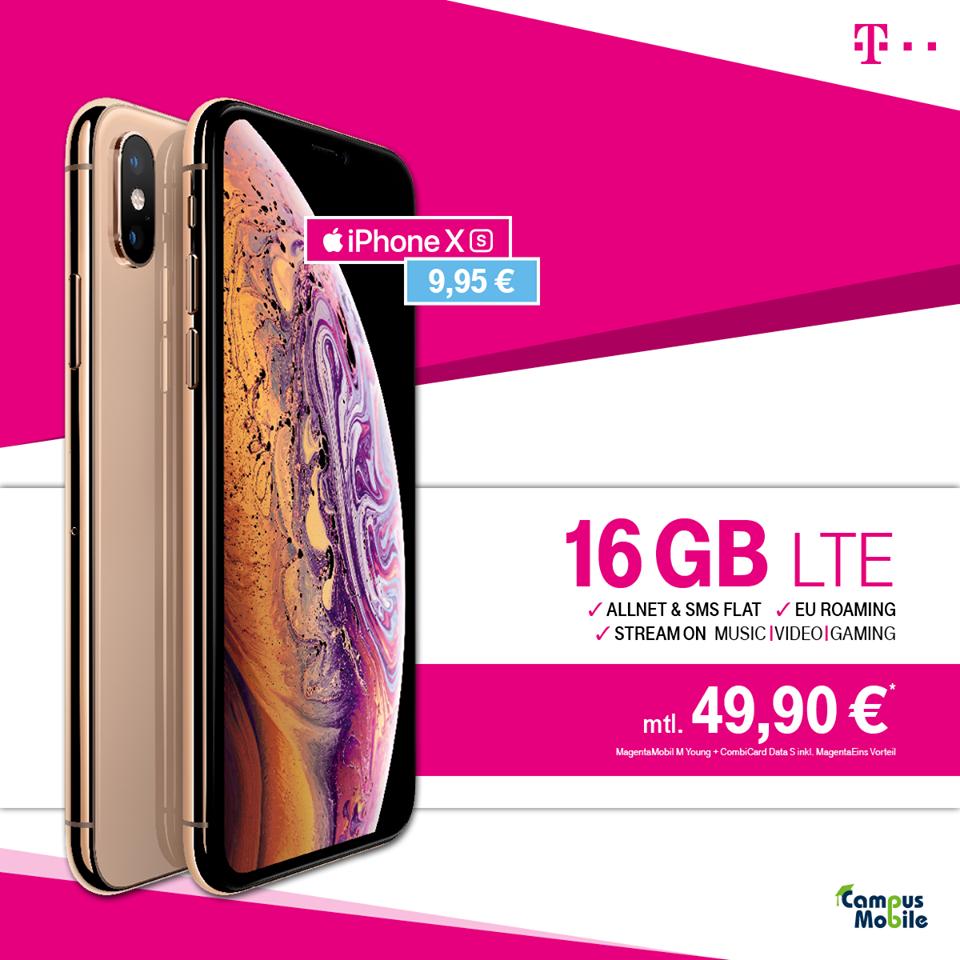 [Lokal Dortmund] 49,90€ Telekom Magenta Mobil M Young mit 16GB LTE, StreamOn Music und Video + Apple iPhone XS 64GB für nur 9,95€ Zuzahlung