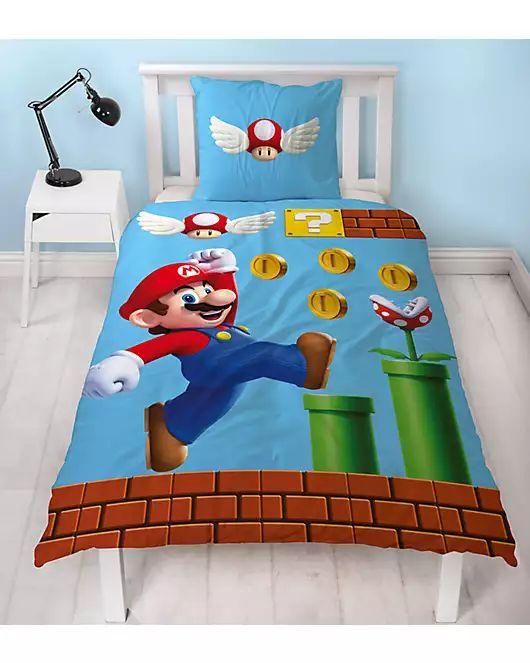 Wende- Kinderbettwäsche Nintendo Mario, Flanell, 135 x 200 cm PayDirekt