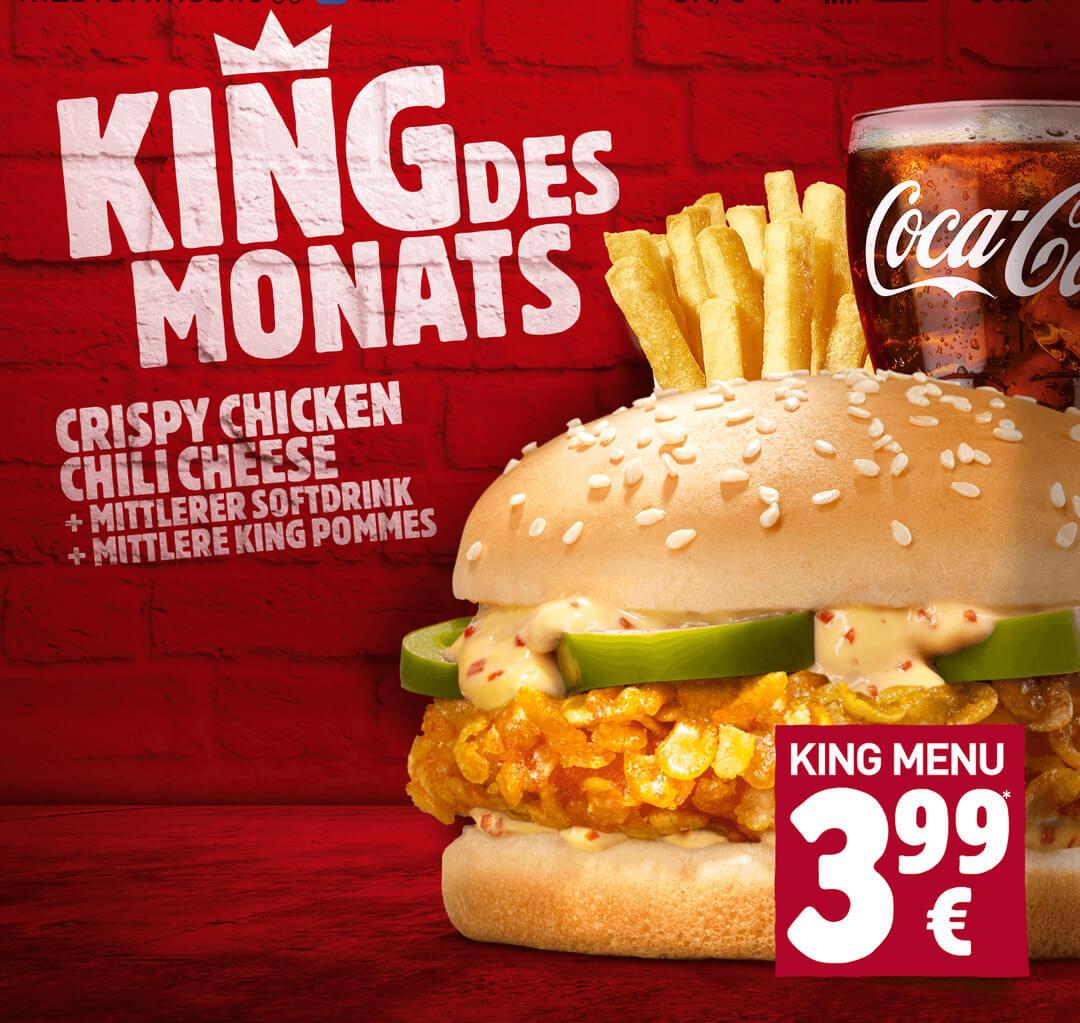 King des Monats bei Burger King - Crispy Chicken Chilli Cheese