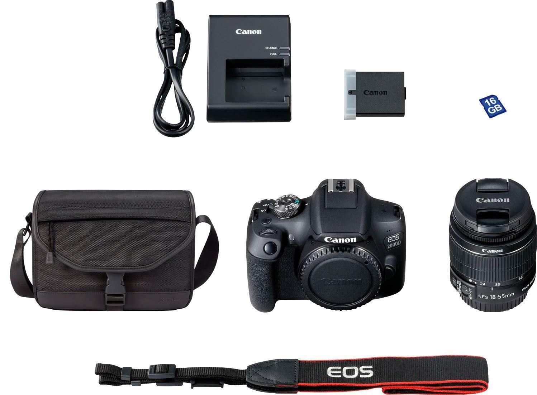 Canon EOS 2000D EF-S 18-55 IS II Body+Objektiv+Tasche+16GB 50€Cashback