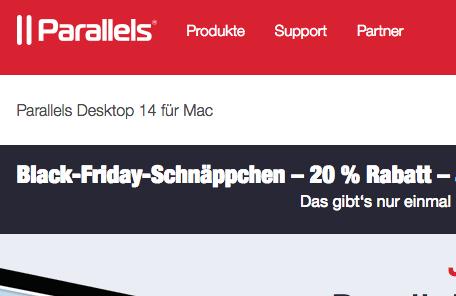 Parallels 14 für Mac Upgrade 20% reduziert (Black Friday Sale) OS X / Mojave