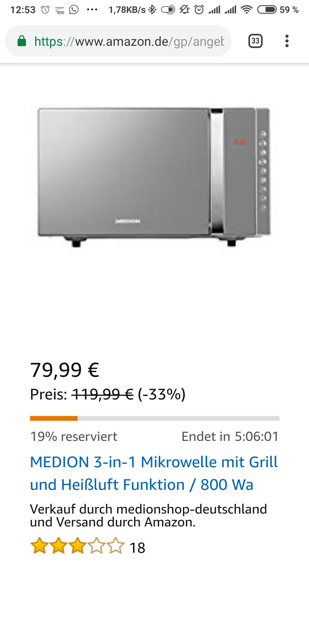 [Amazon Blitzangebot] MEDION 3-in-1 Mikrowelle mit Grill und Heißluft Funktion  / 23 Liter/MD 17495 / silber