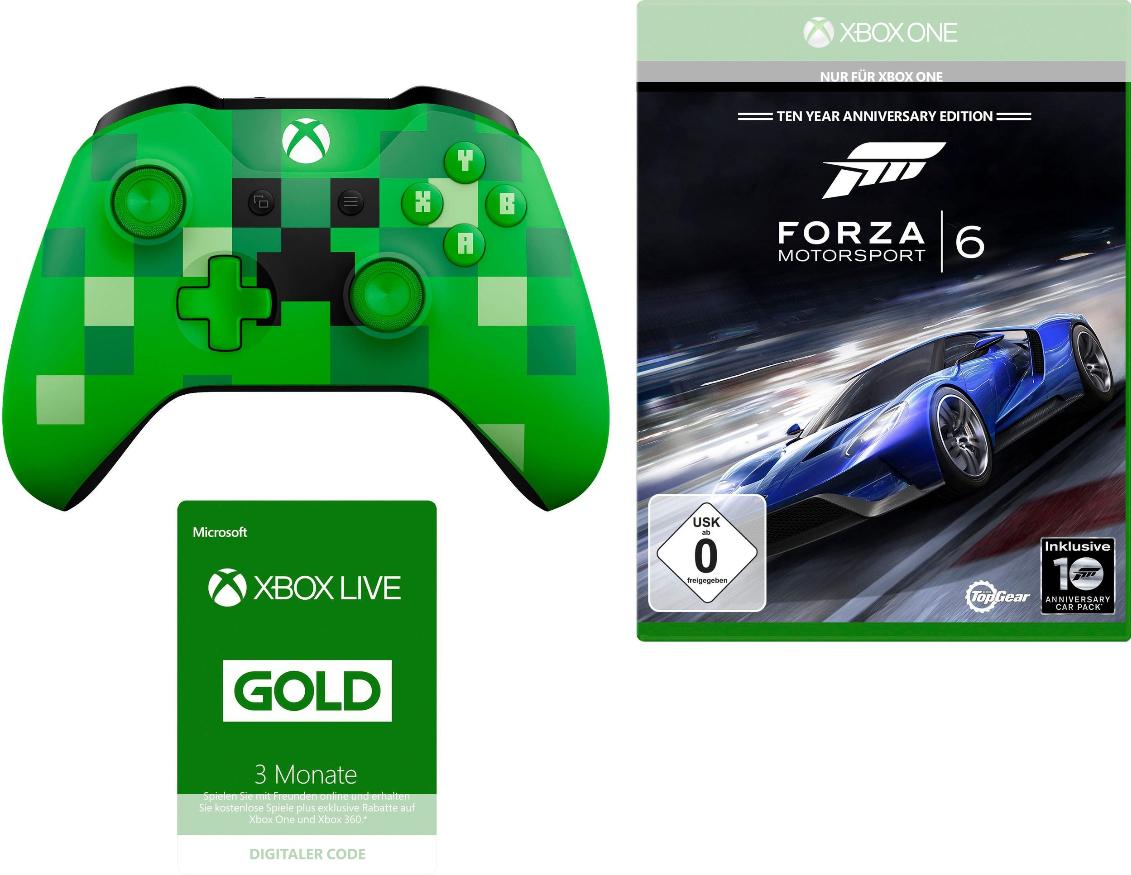 Xbox One  Minecraft Controller + Forza Motorsport 6 + 3 Monate Xbox Live für 66€