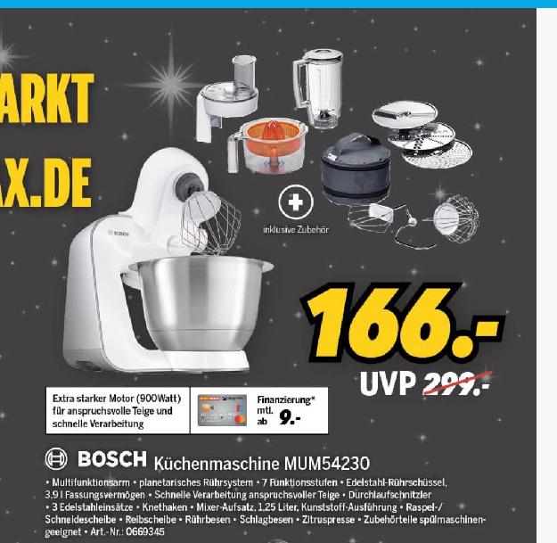 Küchenmaschine BOSCH MUM54230 für 166€ bei Medimax offline - Idealo ab 199€ (-17%)