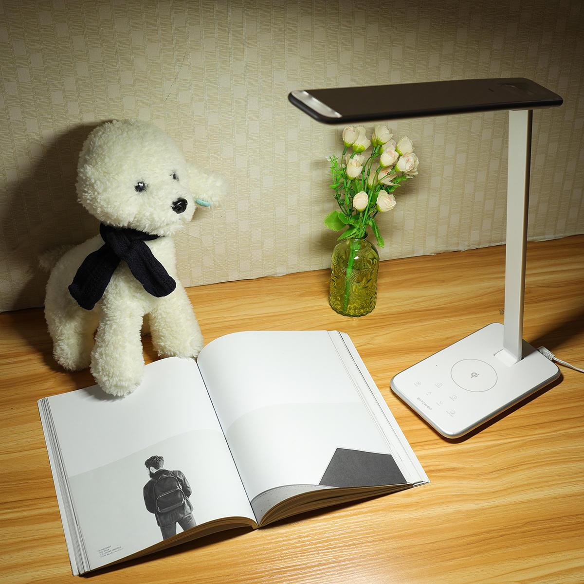 BlitzWolf® BW-LT7 Smart LED Desk Lamp with Qi Wireless Charger Five Brightness Modes Three Color Temperature Night-light Model EU plug white