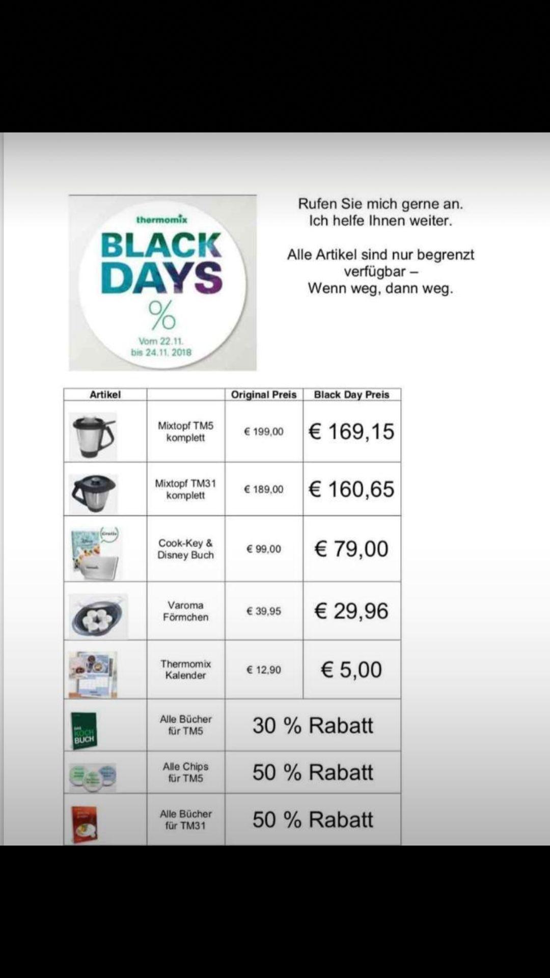 Vorwerk Thermomix Black Days z.B. Mixtopf für TM5 169,15€, Kochbücher 30%/50%