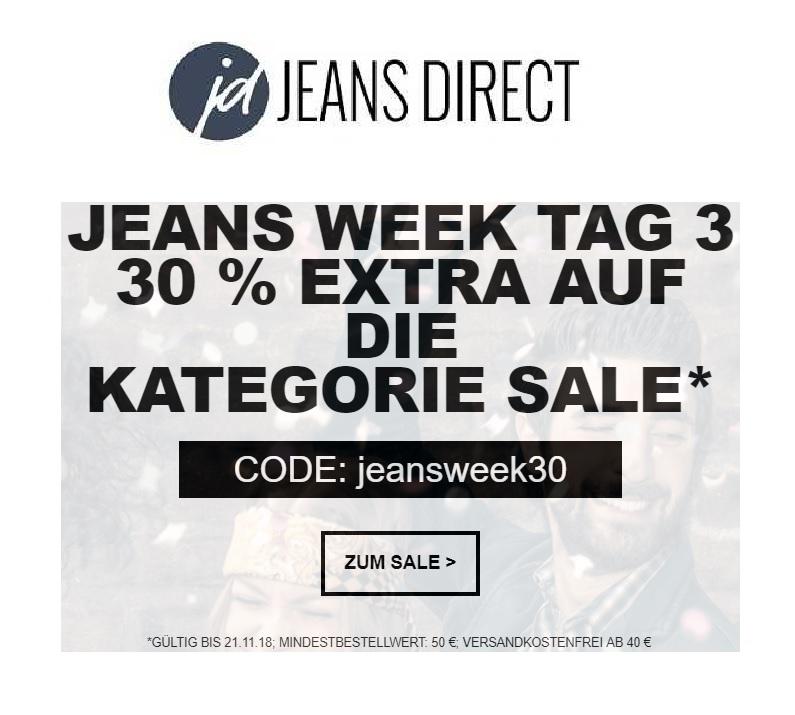 Heute bei Jeans Direct: 30% Extra-Rabatt im Sale! (MBW 50€)