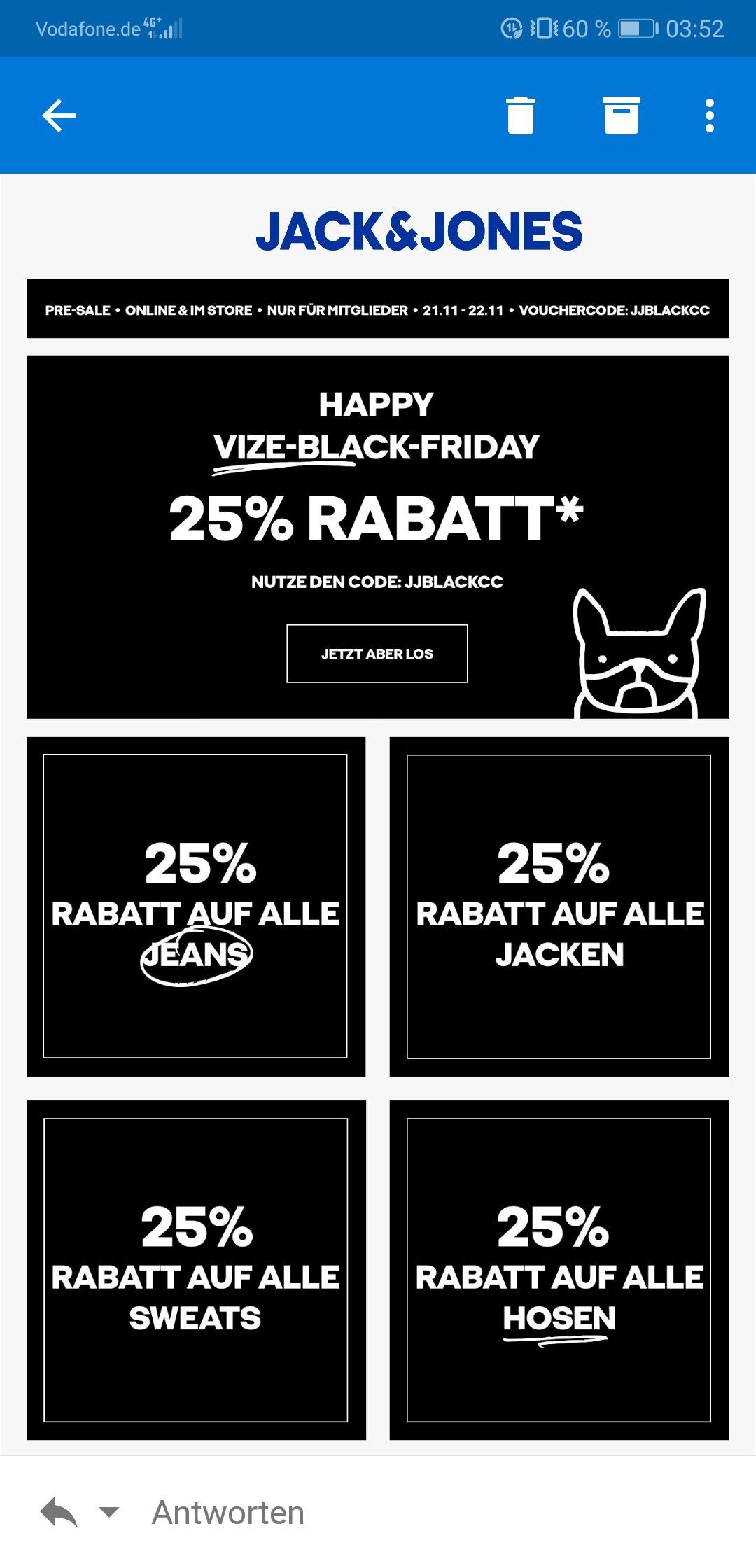 Jack & Jones (BF) 25% auf Jeans, Jacken, Sweats & Hosen