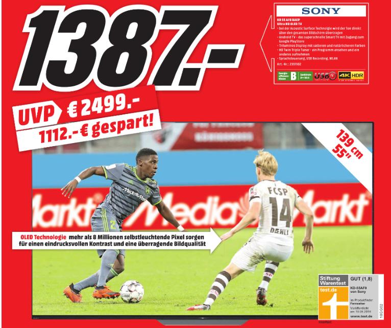 "[Lokal: Schwäbisch Hall/Crailsheim/Heilbronn] Sony KD-55AF8 55"" // LG OLED OLED65B87LC für 1699€ // Sony SRS-XB41 für 88€ // uvm."