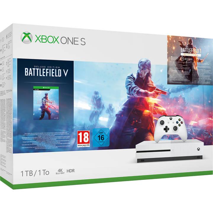 (Microspot Schweiz) Xbox One S 1TB + Battlefield 5 Deluxe Edition + Battlefield 1: Revolution + Battlefield 1943 für 134,07€