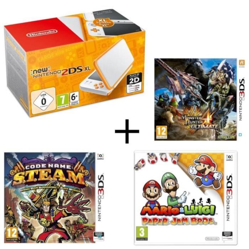 Nintendo New 2DS XL weiß-orange + Monster Hunter 4: Ultimate + Mario & Luigi: Paper Jam Bros + Code Name: S.T.E.A.M für 128,99€ (Cdiscount)
