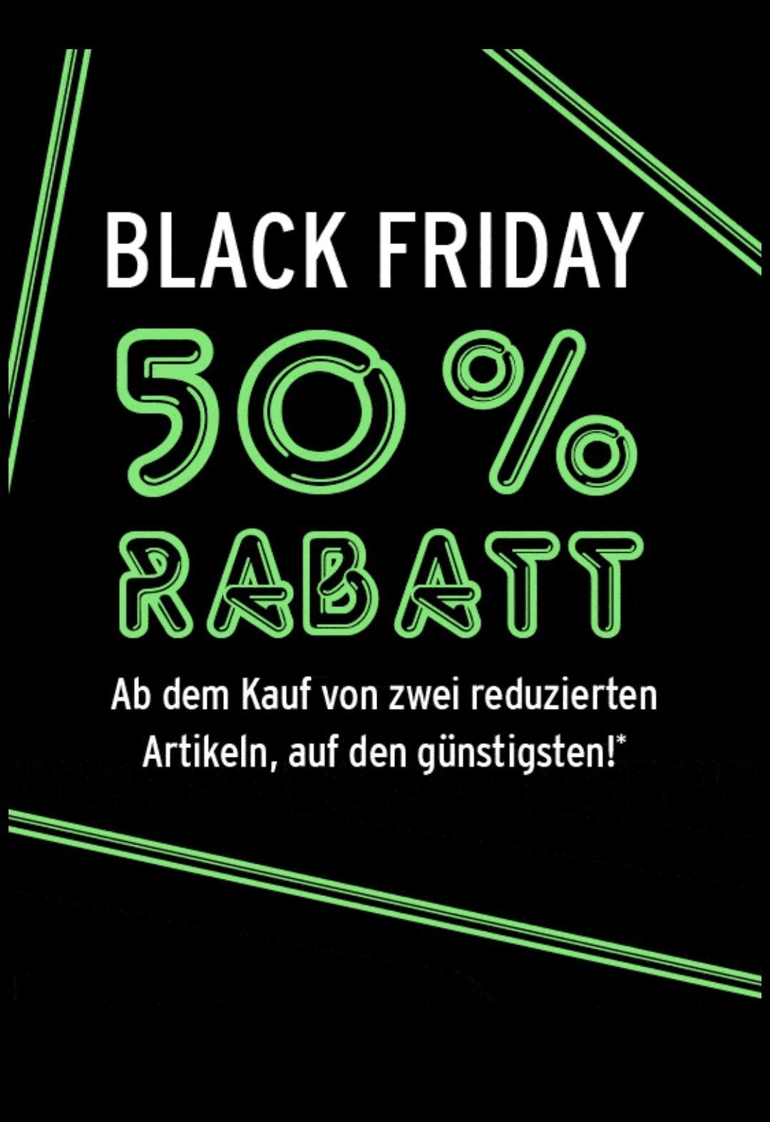 Black Friday bei Ansons in den Filialen - 50% Rabatt ab dem Kauf von 2 reduzierten Artikel, auf den günstigsten