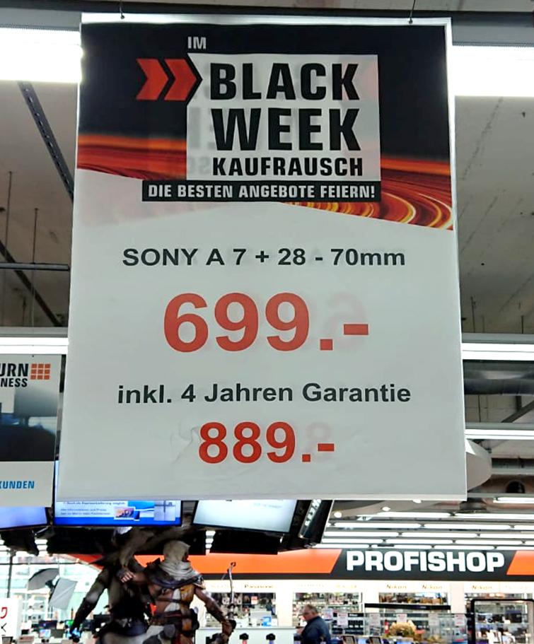 Sony Alpha 7 Kit + 28-70 mm zum Rekord-Tiefstpreis! - regional im Saturn Kiel