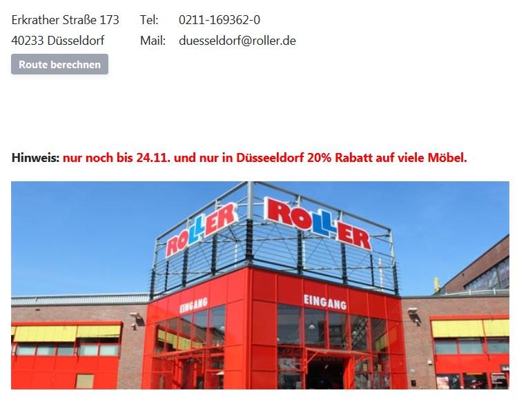 Düsseldorf:  20% Rabatt bei Roller - Wiedereröffnung nach Zwangspause