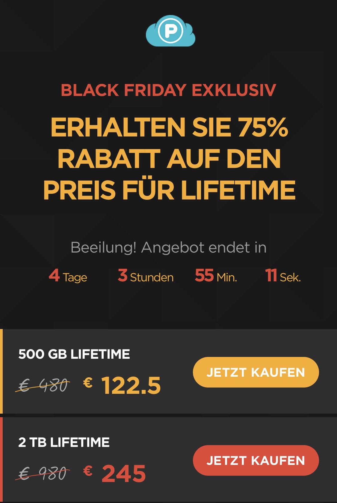 PCloud lifetime Online-Speicher