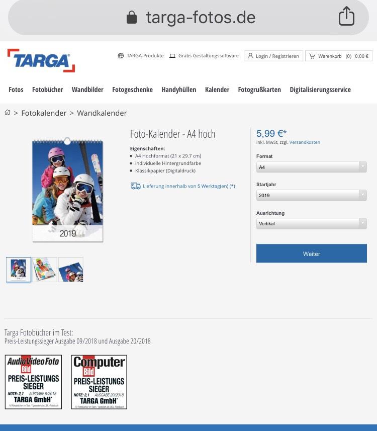 [TARGA-Fotos.de] Fotokalender - A4 hoch für nur 5,99 Euro