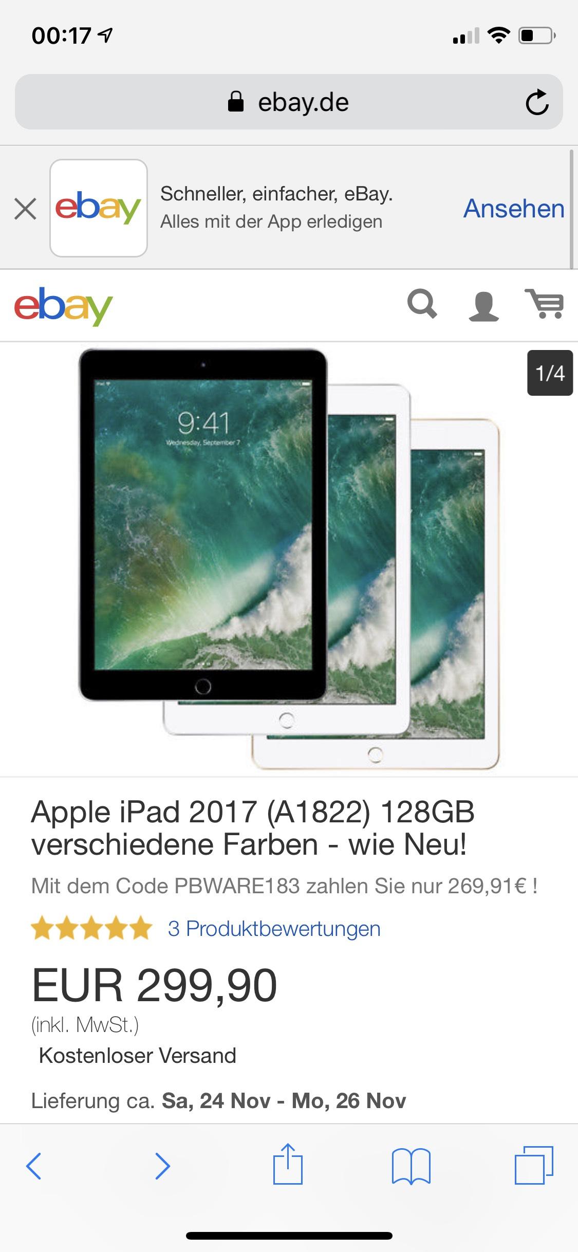 iPad 2017 128 GB wifi wie neu
