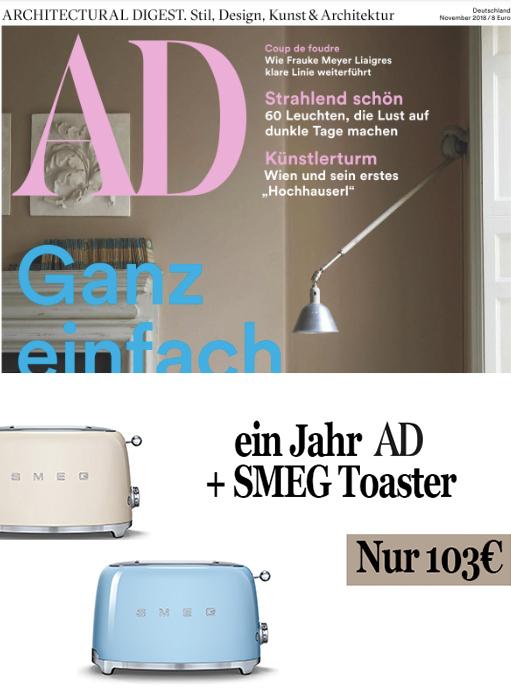SMEG Toaster + AD Architectural Digest Abo (10 Ausgaben) für 103 €