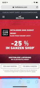Hollister Black Friday -25% auf fast alles