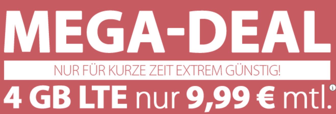 PremiumSIM Mega-Deal - monatlich kündbar, 4GB LTE mit 50 MBit/s, Allnet Flat, SMS Flat, 9,99€ Anschlusspreis für 9,99€ im Monat