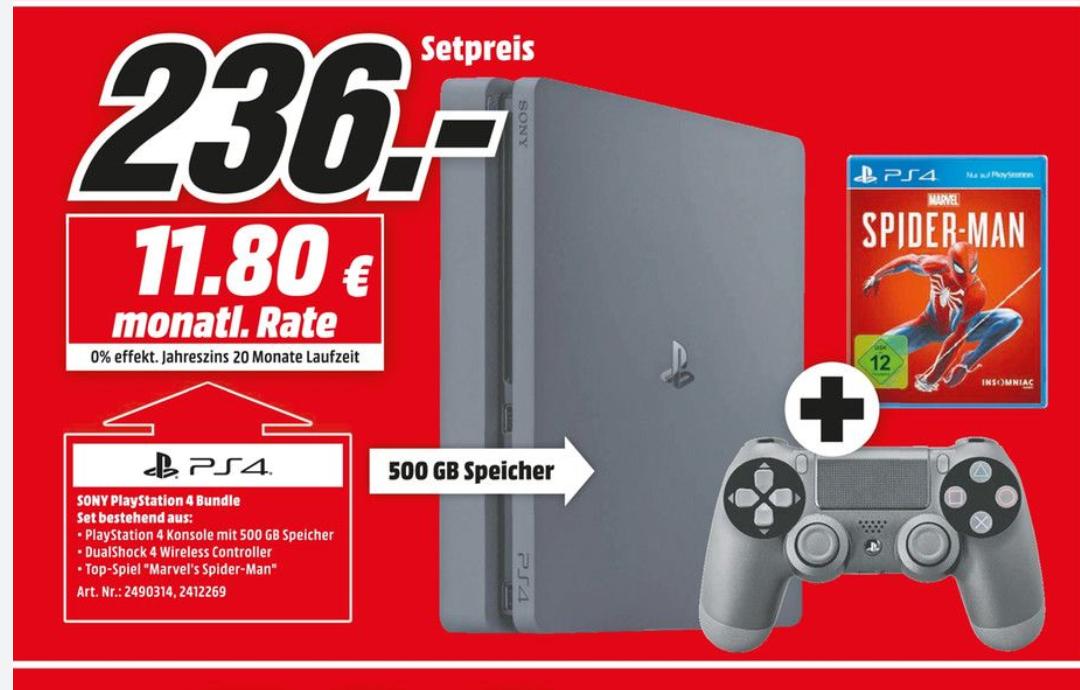 Red Friday bei MediaMarkt Playstation 4 Slim 500gb + Spiderman für 236€