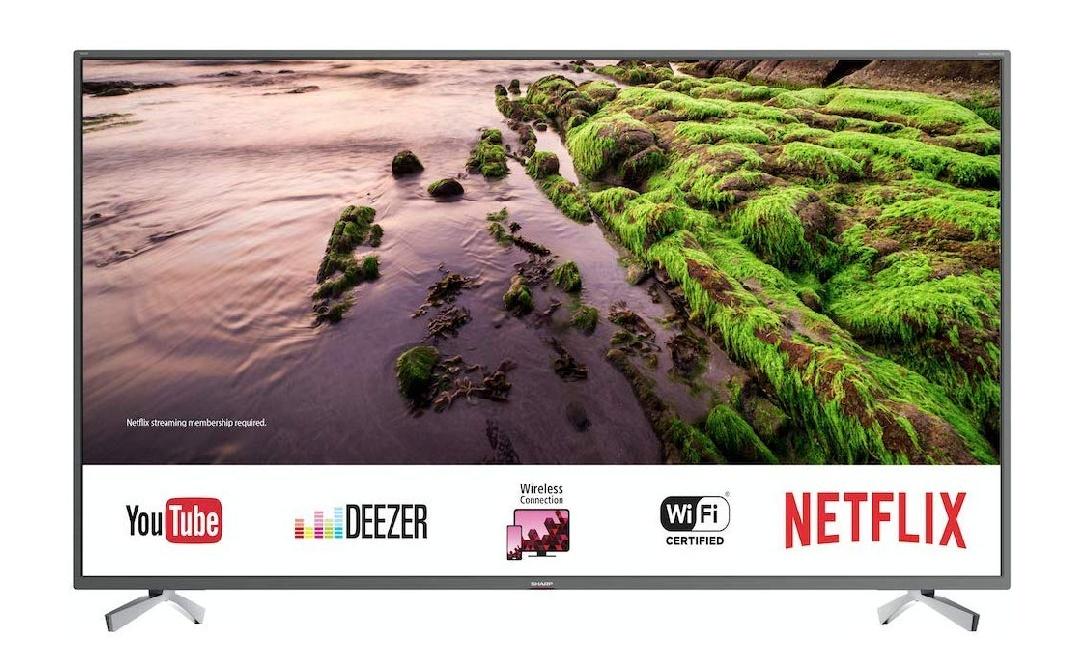 SHARP 4K Ultra HD Smart LED TV, 123 cm (49 Zoll), HDR, Harman/Kardon Sound, 3 HDMI Anschlüsse, LC-49UI8652E, Schwarz