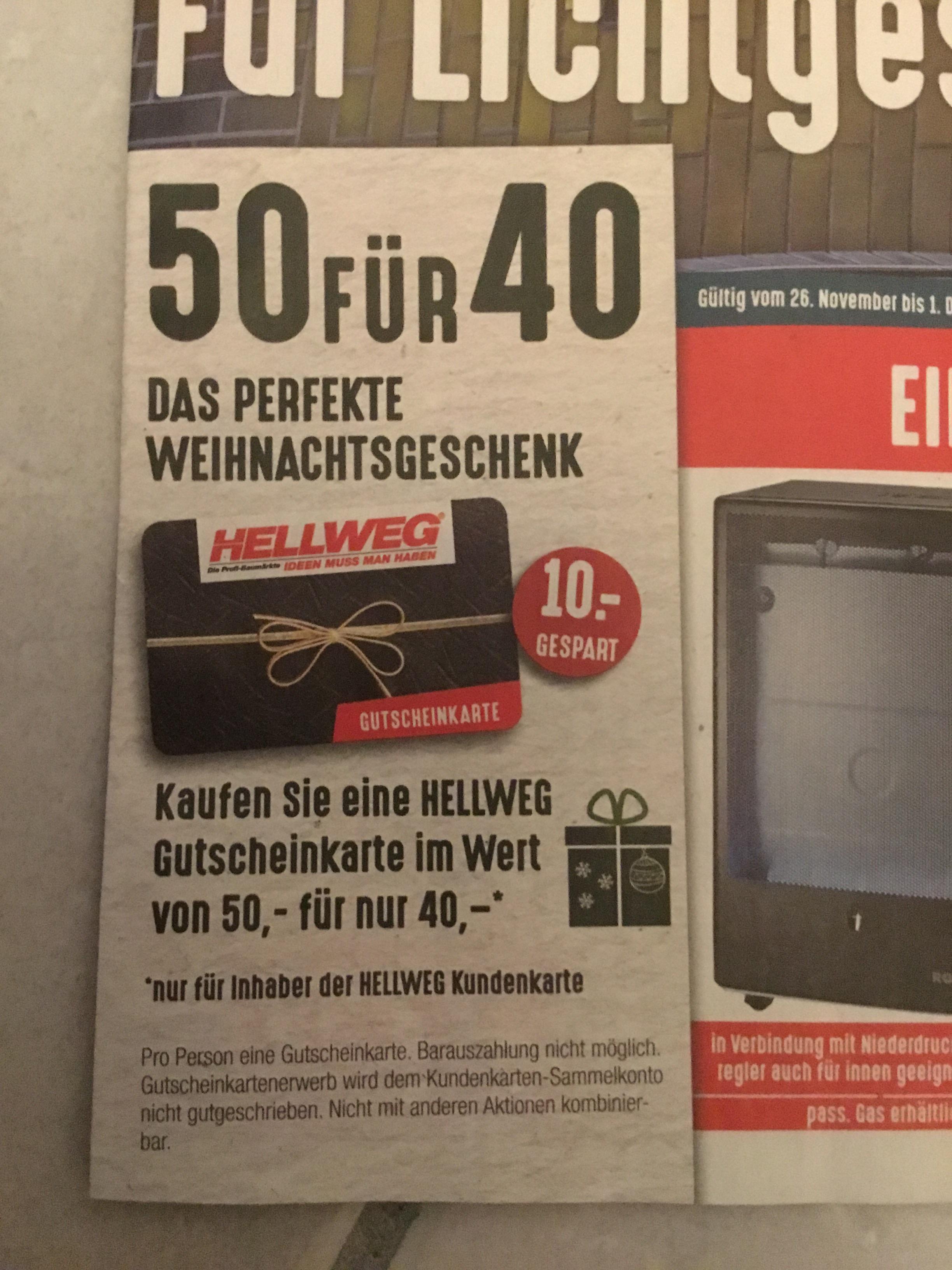 HELLWEG Gutscheinkarte im Wert von 50€ für 40€ nur Offline
