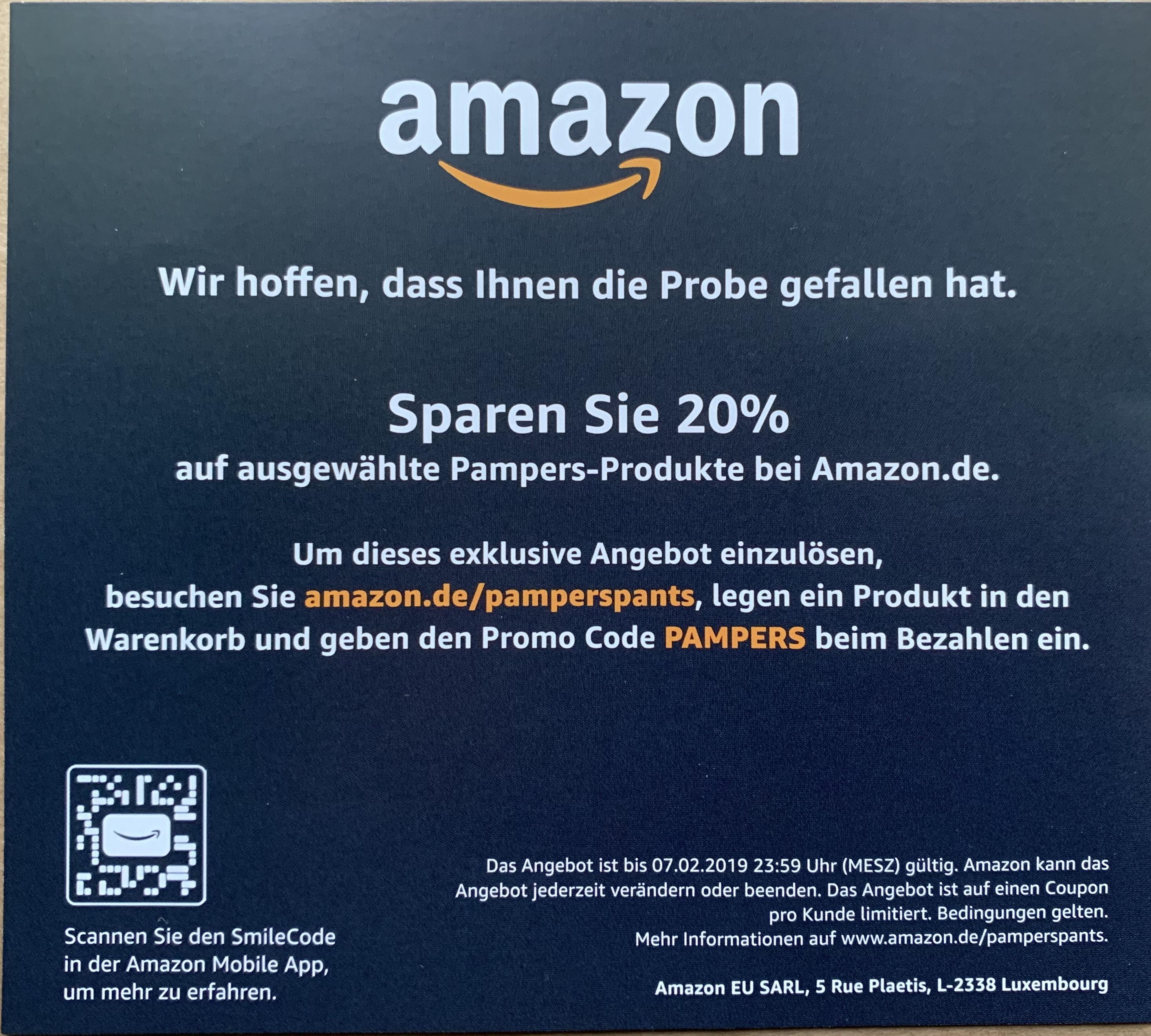 [amazon] 20% auf ausgewählte Pampers Produkte