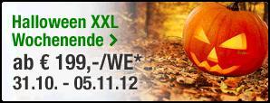 Europcar Halloween XXL Wochenende vom 31.10 12 Uhr bis 05.11 9 Uhr (5 Tage!) z.B. VW Golf mieten ab 199 €