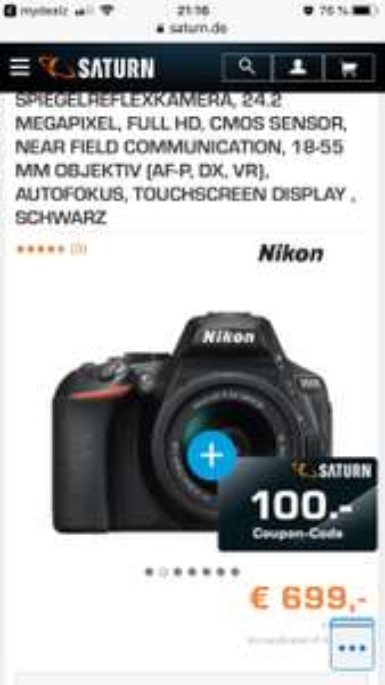 Nikon mit Couponaktion bei Saturn und MediaMarkt z.B. D5600 Kit für 699,00€ + 100,00€ Coupon