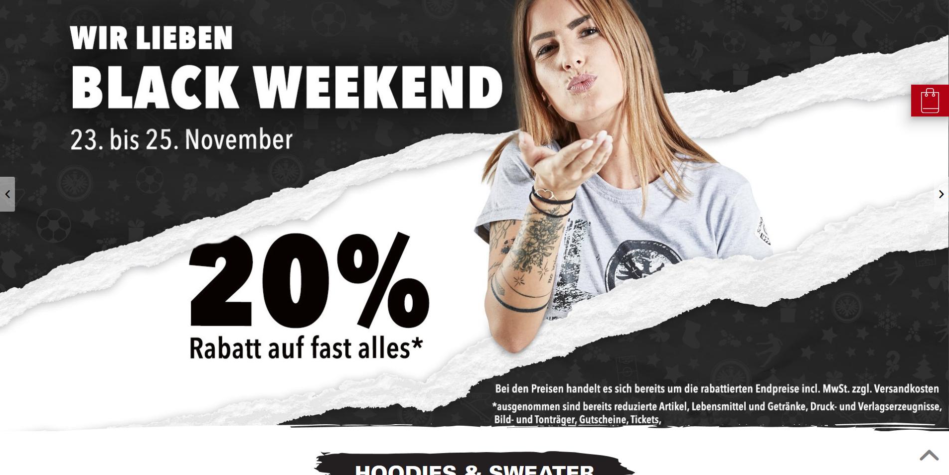 Eintracht Frankfurt Black Weekend 20% Rabatt auf fast alles 23 - 25.11.2018